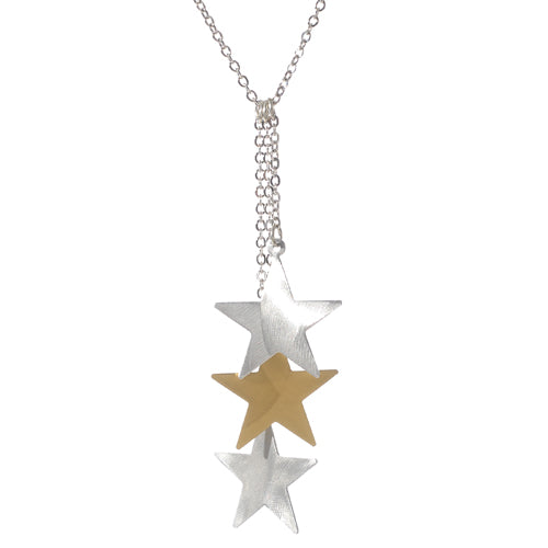 Mixed Metal Triple Star Necklace