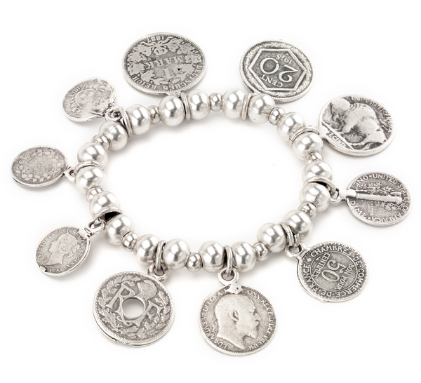 bracelet - Mixed Antique Coins Stretch Bracelet - Girl Intuitive - Island Imports -