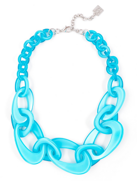 Mod Resin Links Necklace aqua