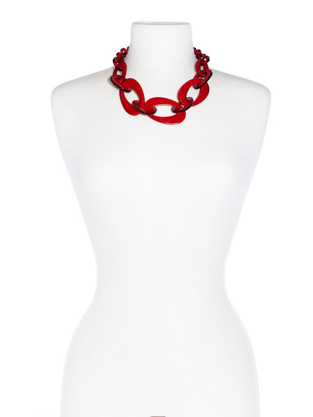 Mod Resin Links Necklace red