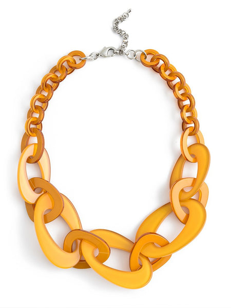 Mod Resin Links Necklace yellow