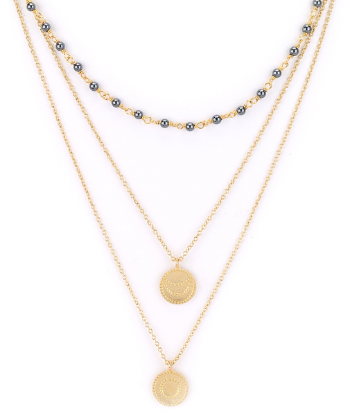 Moon Charm and Pearls Layered Necklace