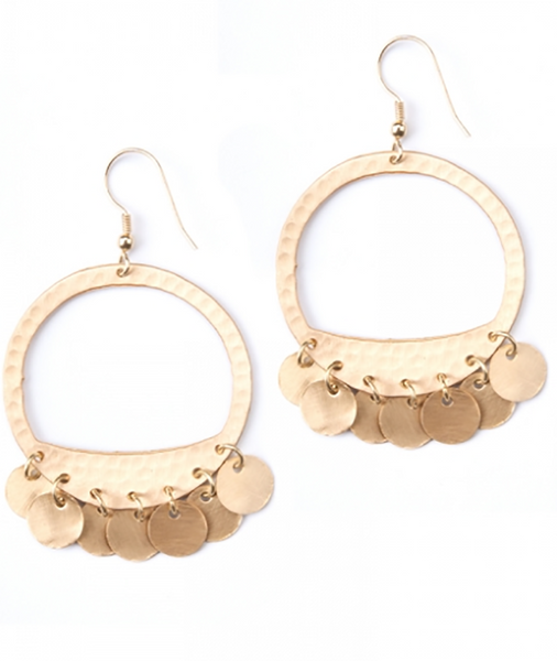 Moon Fringe Earrings Gold