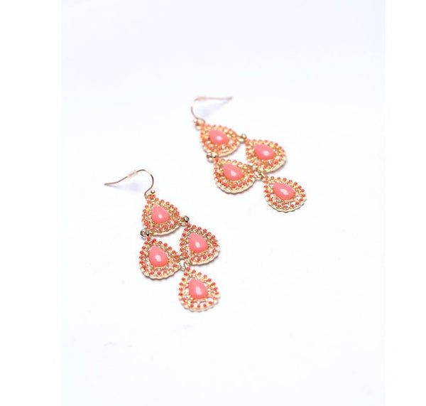 Moroccan Chandelier Earrings - Pink side
