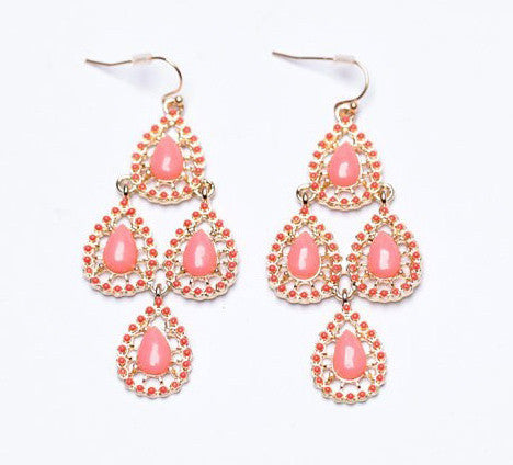 Moroccan Chandelier Earrings - Pink