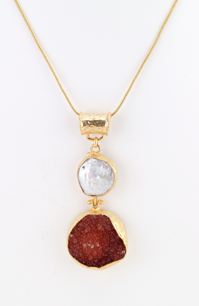 Mother of Pearl and Druzy Pendant Necklace