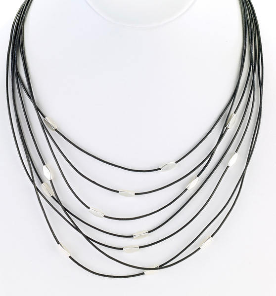 Multi Strand Leather Necklace with Silver Beads