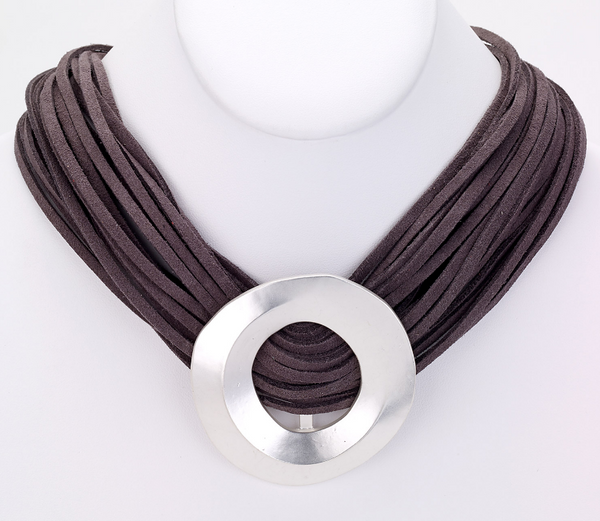 Multi Strand Leather Short Necklace in Silver
