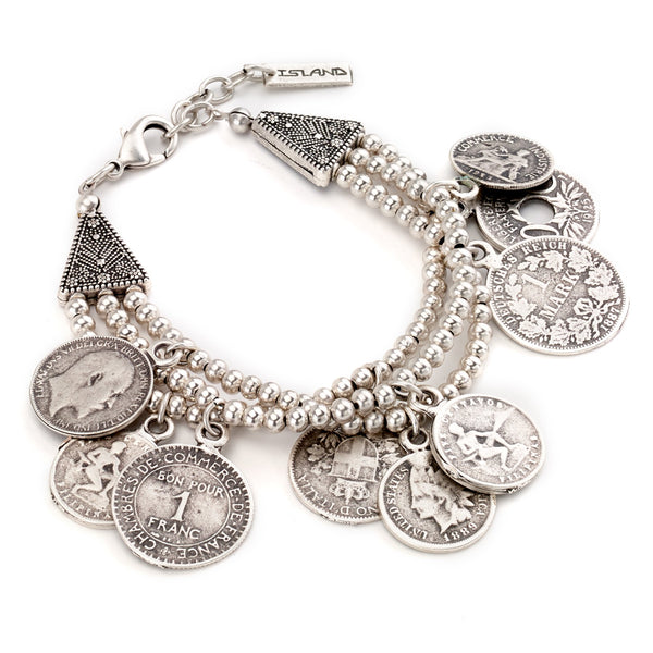 Multi-Strand Antique Coin Bracelet