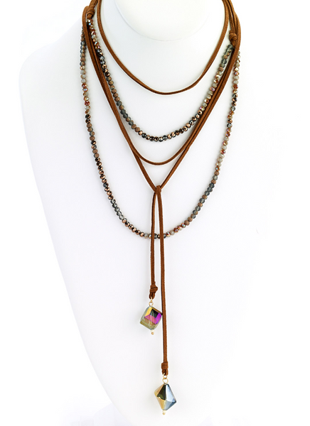 Multi-Wrap Leather Necklace with Faceted Beads brown