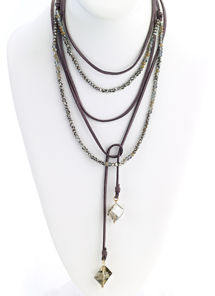 Multi-Wrap Leather Necklace with Faceted Beads gray