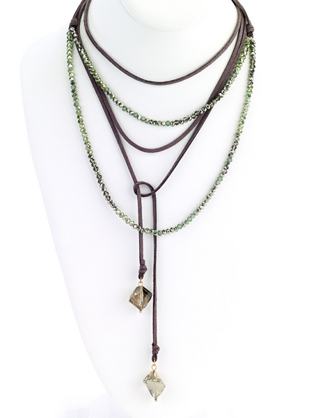 Multi-Wrap Leather Necklace with Faceted Beads green