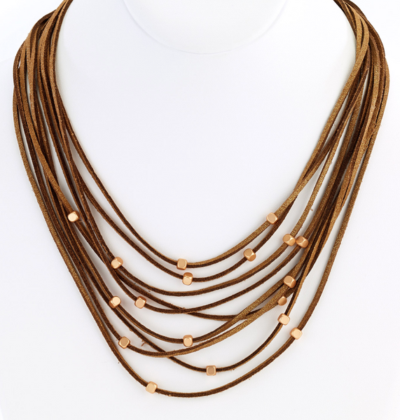 Multi Strand Leather Necklace brown