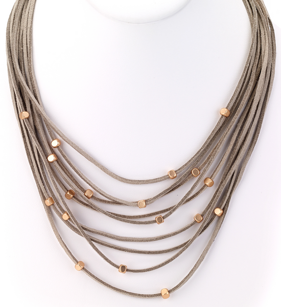 Multi Strand Leather Necklace taupe
