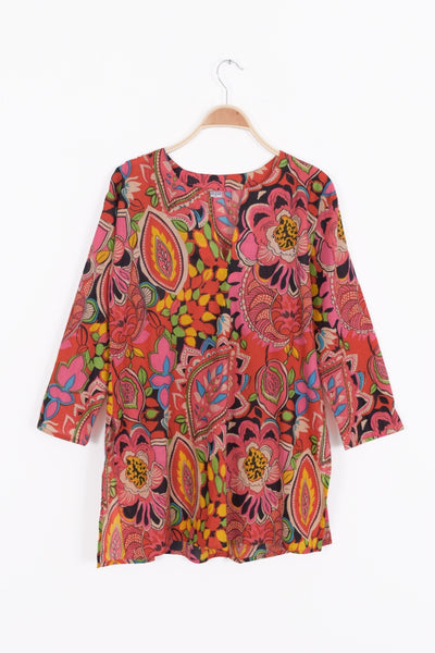 Multi Color Cotton Tunic Top in Rose Pink