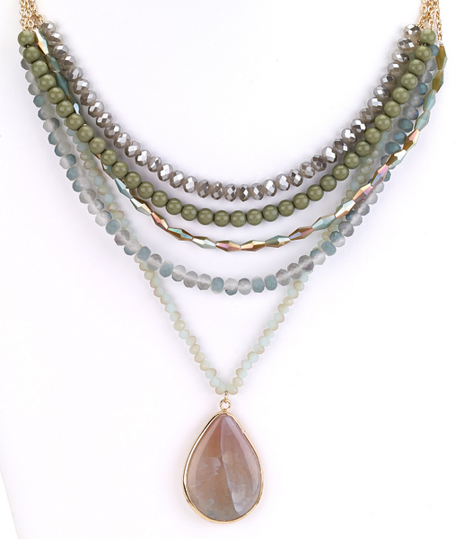 Multiple Strands Agate Pendant Necklace
