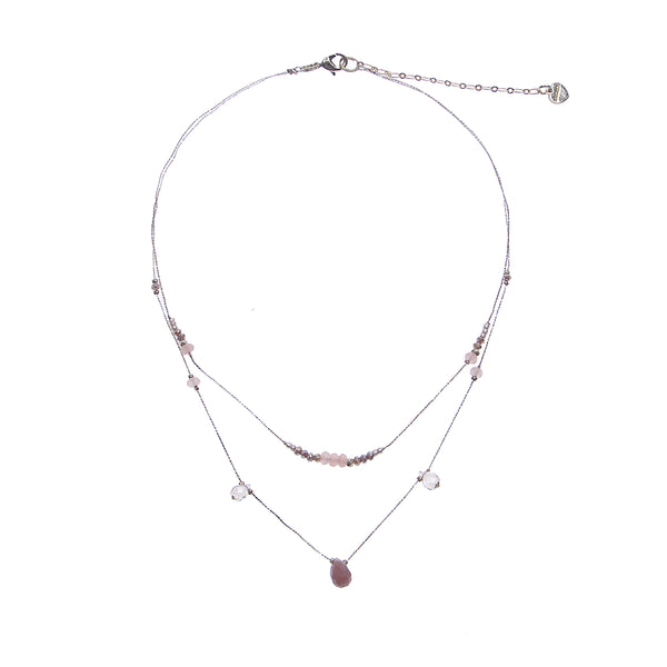 Nakamol Delicate Silver Gemstone Layered Necklace rose pink