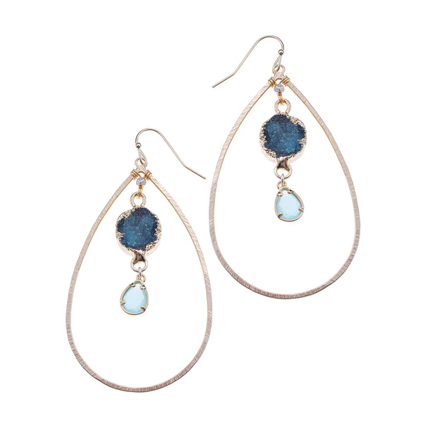 Nakamol Druzy Oval Drop Earrings in Teal Blue
