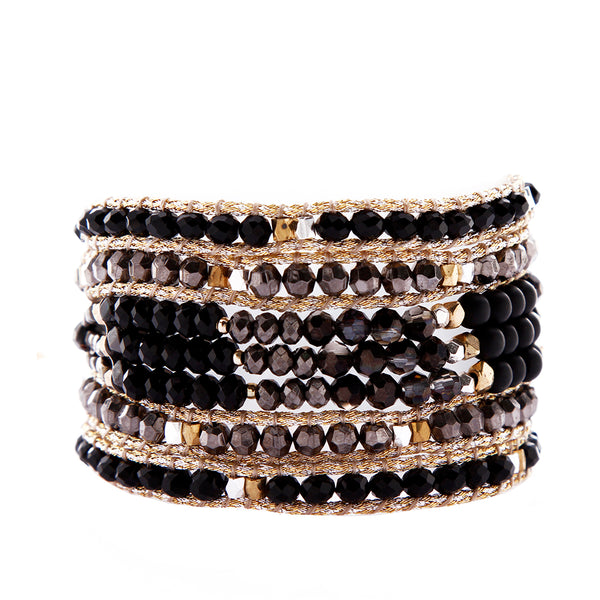 Nakamol Mokuba Wrap Bracelet Black and Gold