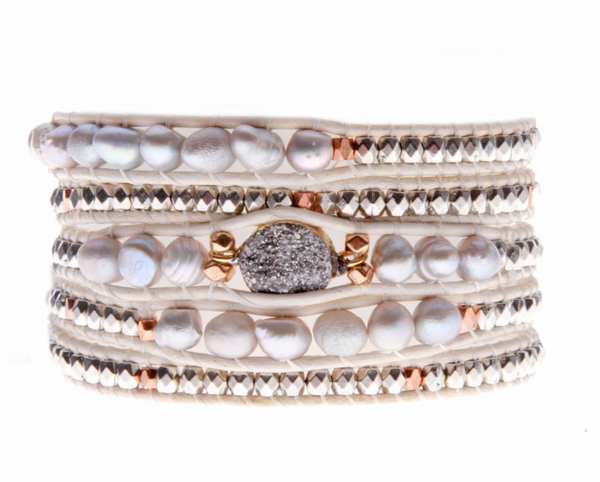 Nakamol Pearl and Druzy Wrap Bracelet