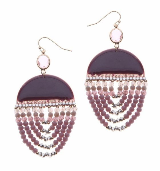 Nakamol Purple Beaded Earrings