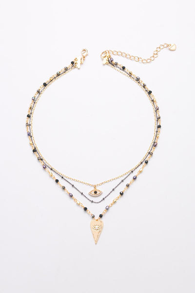 Nakamol Evil Eye Layered Necklace in Black