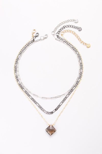 Nakamol Layering Mixed Chain Necklace with Pendant