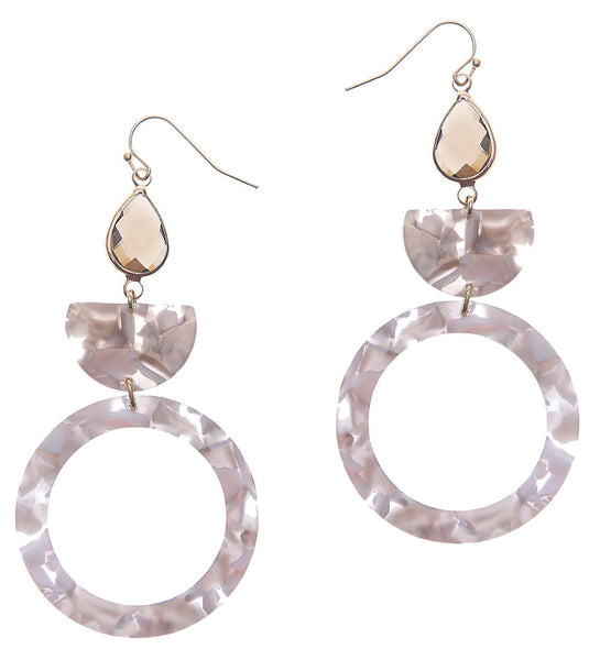 Nakamol Tortoise Teardrop Stone Earrings in Rose