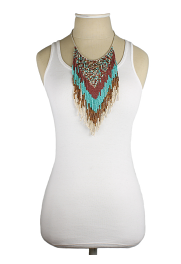 Native American Beaded Fringe Long Necklace model