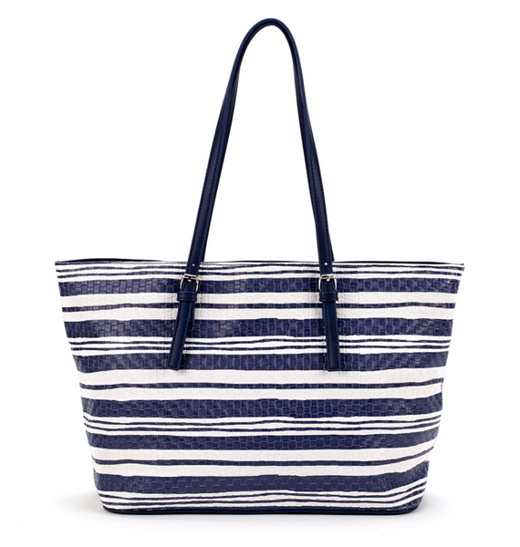 Nautical Woven Tote Bag Navy