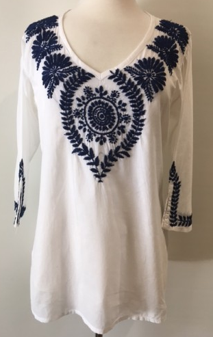 Navy Embroidered Tunic Top