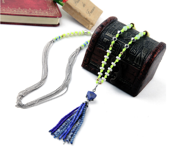 Neo-Tribal Long Tassel Necklace z