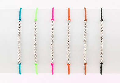 Neon Cord and Silver Beaded Friendship Bracelets