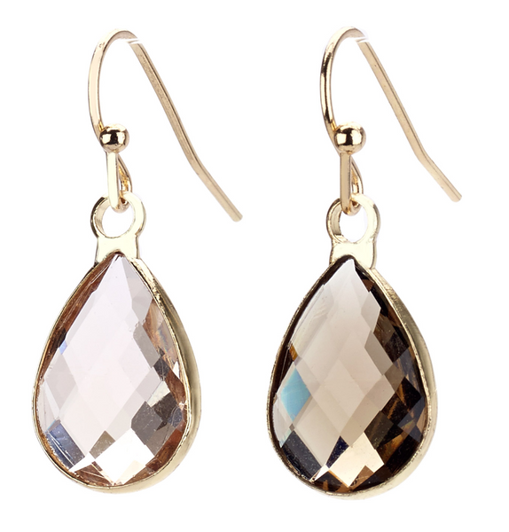 Neutral Faceted Drop Earrings