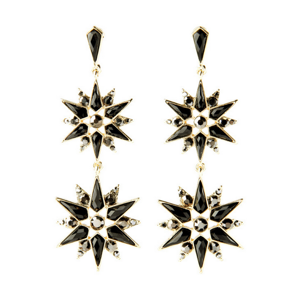 North Star Black Earrings