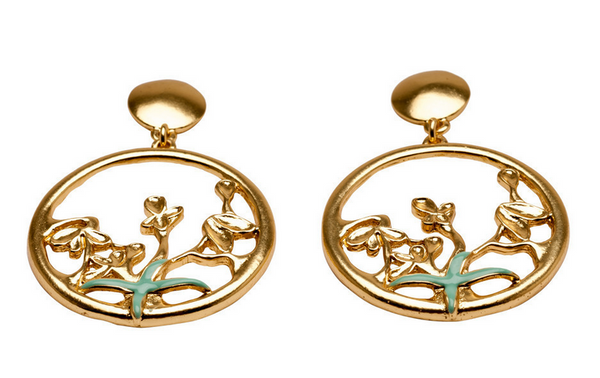 Olive Leaf and Flower Dangle Earrings in Gold