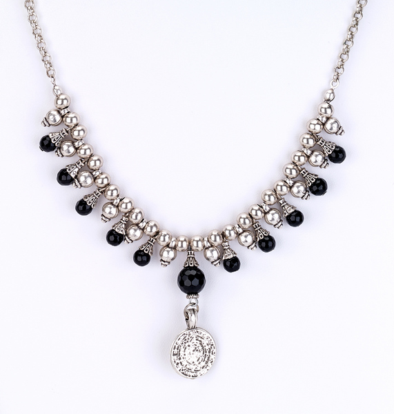 Onyx Beaded Necklace with Coin Drop