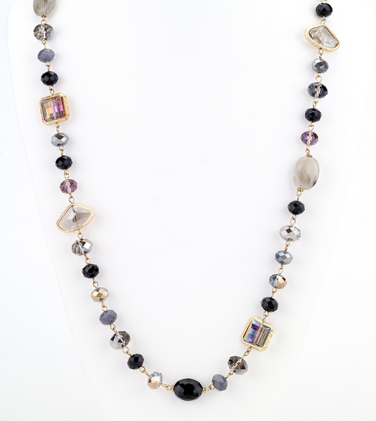 Opalescent Beaded Long Necklace Black