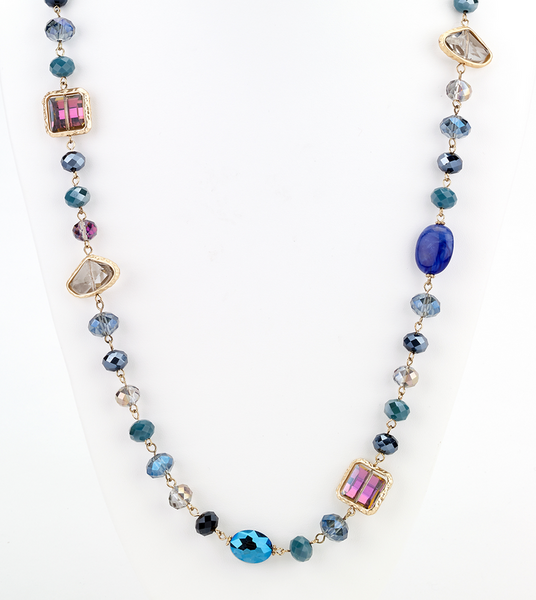 Opalescent Beaded Long Necklace - Blue