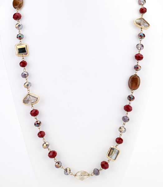 Opalescent Beaded Long Necklace - Red