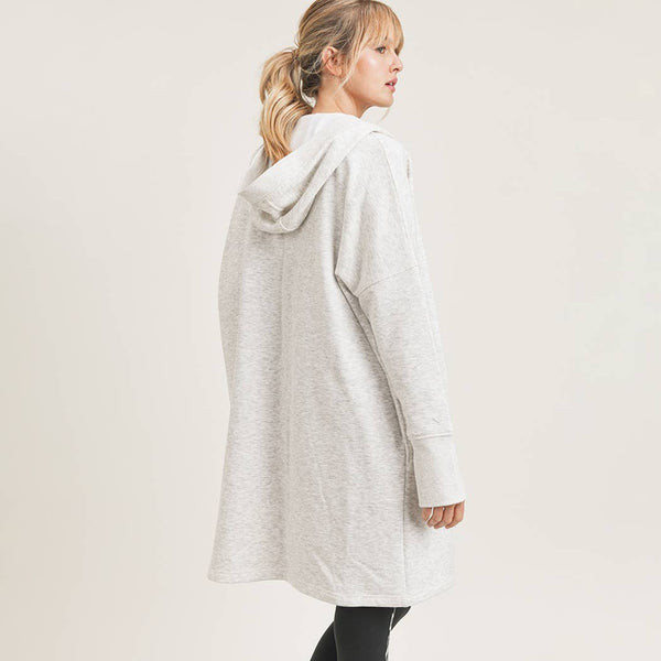 Open Front Longline Hoodie Cardigan with Fleece Linining
