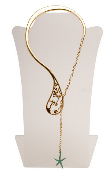 Open Front Long Necklace in Gold