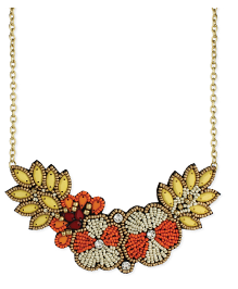 Orange Bead Flower Bib Necklace