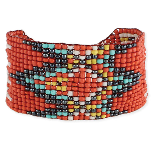 Orange, Grey & Turquoise Bead Woven Cuff Bracelet