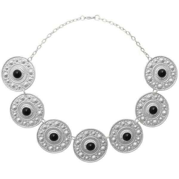 Ornamental Coins Collar Necklace silver