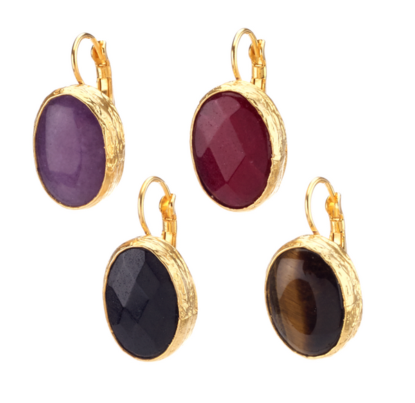 Oval Agate Drop Earrings