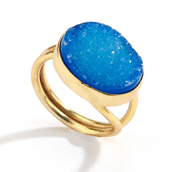 Oval Druzy Ring blue