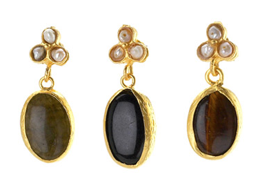 Oval Stone Drop Earrings with MOP