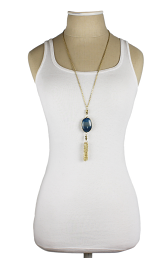 Oval Stone Gold Tassel Long Necklace model