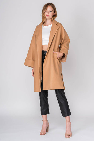 Oversized Coat with Pockets in Camel